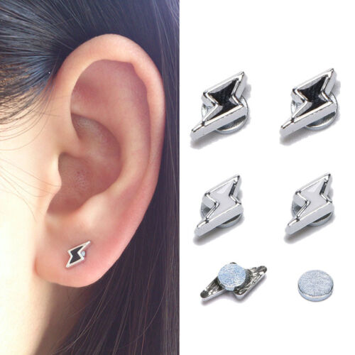 1 Pair White//Black Lightning Magnet Earrings Stud Jewelry  TDO