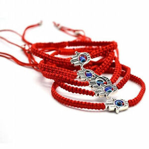 10X-Good-Luck-Kabbalah-BRACELET-Hamsa-Hand-of-GOD-Evil-Eye-Adjustable-Red-String