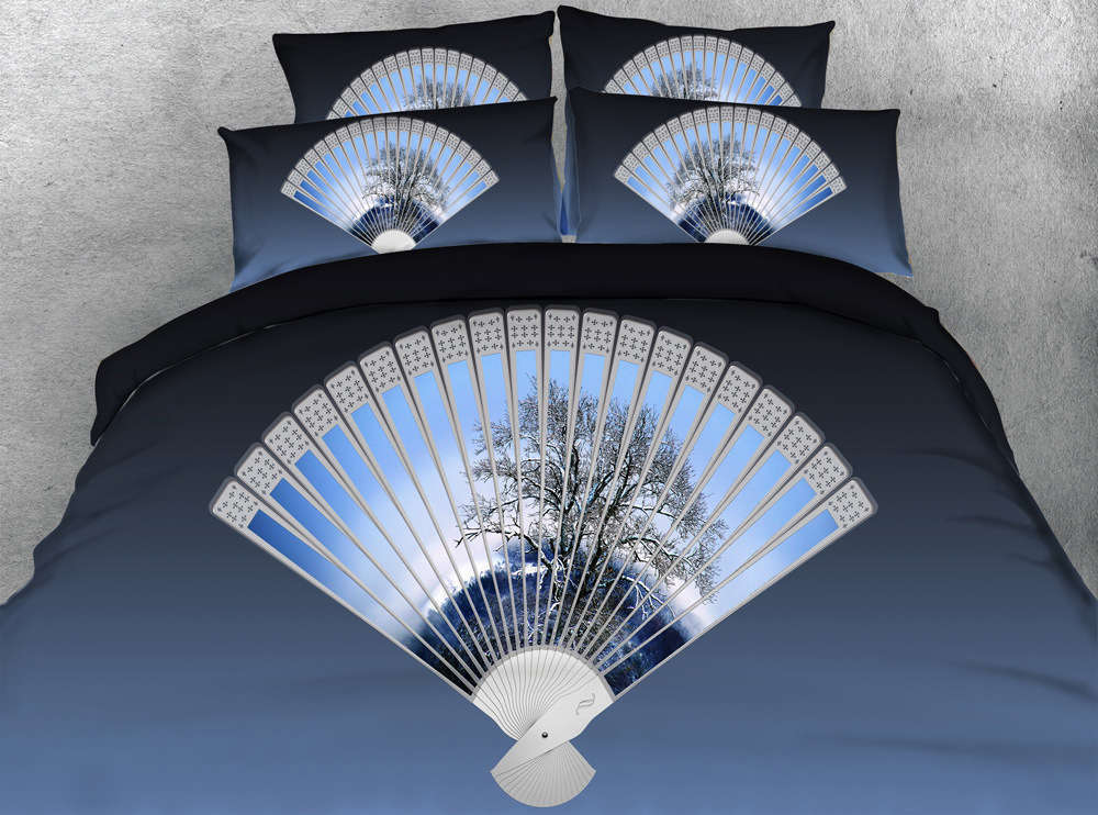 Bamboo Leaf Fan 3D Printing Duvet Quilt Doona Covers Pillow Case Bedding Sets