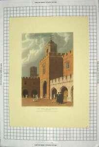 Original-Old-Antique-Print-Rugby-School-Quadrangle-1816-Architecture-Colour