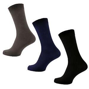 3 Pairs Mens Plain Stay-Up Black Navy Grey 100% Cotton Socks, UK Size 6-11