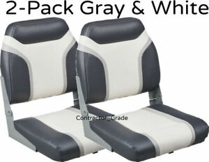 Details About New 2 Pack Of Gray White Folding Boat Seats Boating Bass Fishing Pontoon Set