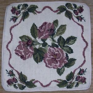 """Gorgeous14"""" x 13"""" NEW COMPLETED Needlepoint HM Pillow Cover Pretty Flowers"""