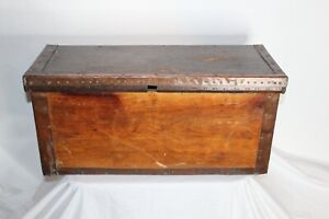 Antique Primitive Wood Storage Box Trunk Chest Handmade Copper Metal Lining