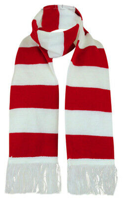 Where Red White Striped Winter Wear Knitted Scarf Christmas Fancy Dress