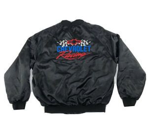 Chevrolet-Racing-black-Satin-Jacket-Pre-owned-Great-Condition-Size-X-large