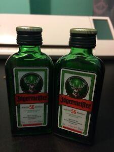 Lot-Of-2-empty-Jagermeister-mini-liquor-bottles-Glass-50mL