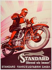 STANDARD, Vintage Motorcycle Advertising Poster Reproduction Canvas Print 22x30