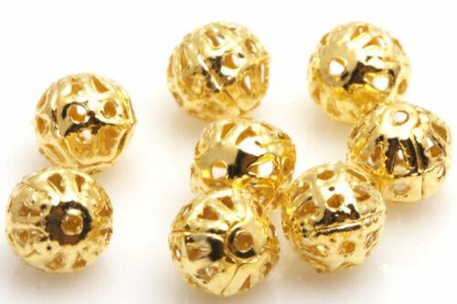 200Pcs Silver//Gold//Copper//Bronze Metal Hollow Flower Ball Spacer Beads 4//6//8mm