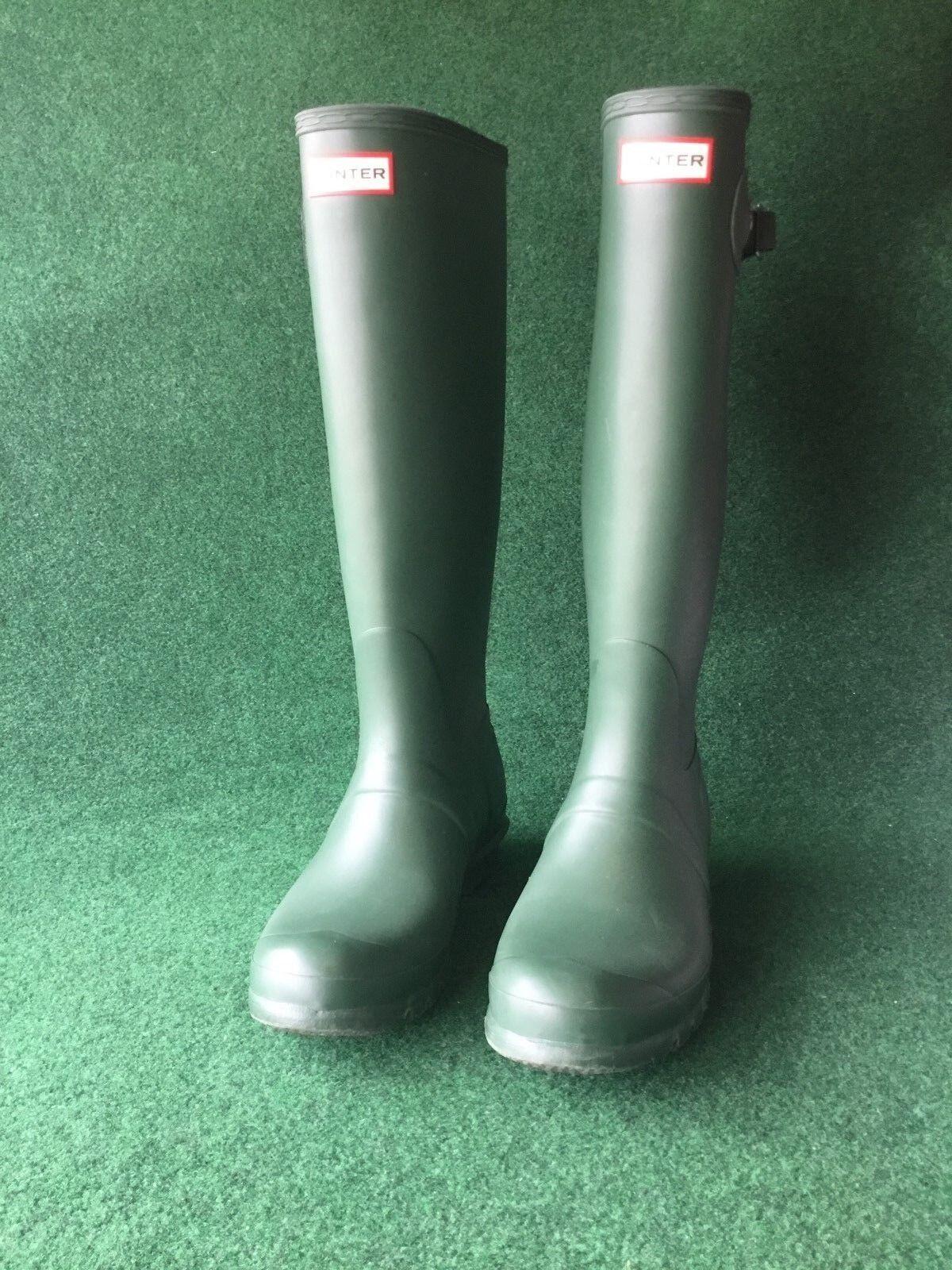 Hunter Women's Green Matte Rubber Rain Boots Original Tall 9 M WFT1000RMA