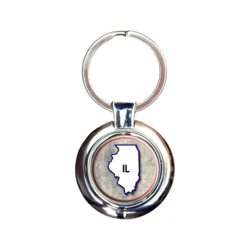 Illinois IL State Outline on Faded Blue Keychain Key Ring