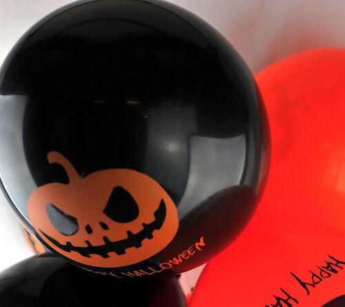 """10 X 12/"""" Latex Ballons Citrouille Orange//Noir Pour Halloween Hélium Ou Air"""