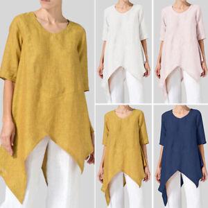 ZANZEA-8-24-Women-Short-Sleeve-Top-Tee-T-Shirt-Asymmetric-High-Low-Tunic-Blouse