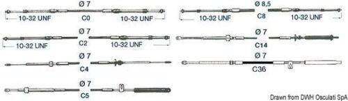 Bootsport Kabel Fernbedienung C2 da 6' Marke Osculati 45.002.06