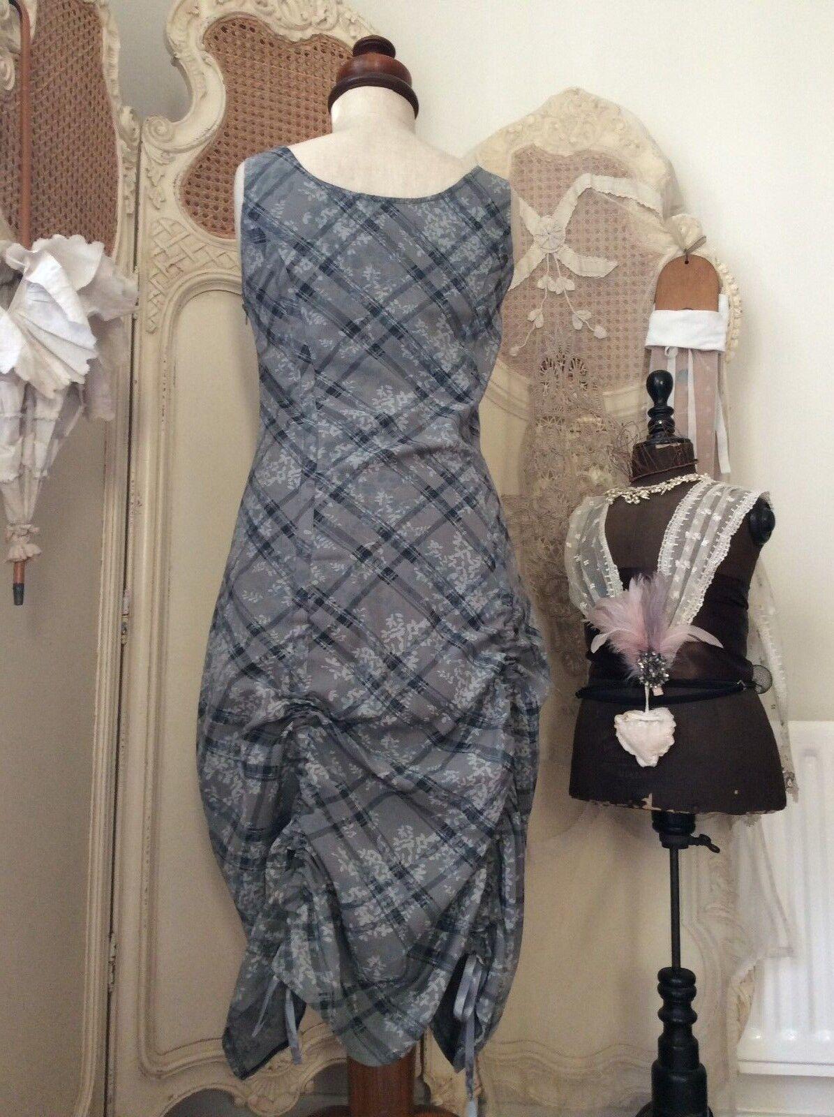 Myrine Myrine Myrine & Me Designer Lagenlook Asymmetric Cotton Ruffle DressArt-To-WearSize M fa3165