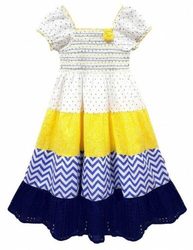 Kids Girls Summer Cotton Party Dress Lemon Floral Print Gypsy Sun Dress 3-11Year