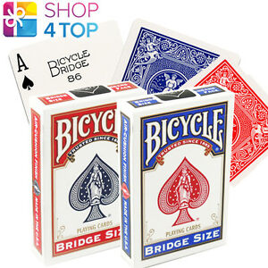 2-BICYCLE-BRIDGE-PLAYING-CARDS-DECK-RIDER-BACK-BLUE-RED-MAGIC-TRICKS-NEW