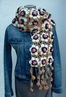 ♥ Blüten Häkel Schal ♥ NEPAL 100% Wolle Netz TRAUMTEIL  Hippie Boho