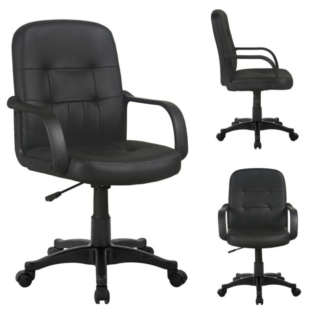 2x Black Faux Leather Office Chair Swivel Computer Desk Seat Adjule Height