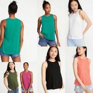 NWT Old Navy Soft Relaxed High Neck Hi-Lo Swing Tank Top for Women ...