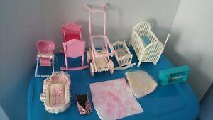 Ten-Piece-Doll-Furniture-Baby-Beds-Rocker-Stroller-High-Chair-Rug-Blanket-Shelf