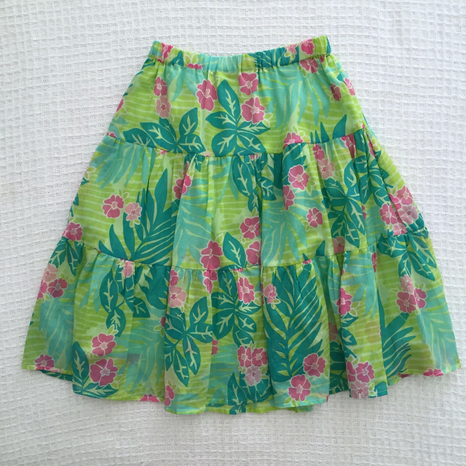 RARE LILLY PULITZER Womens Cotton Floral Print Tiered Skirt Sz XS