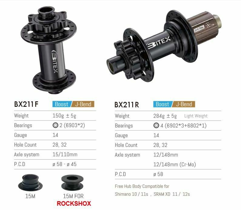 Bitex BX211 Hub Pair Boost Disk 6 Bolzen F 110x15mm R 148x12mm Shimano oder SRAM XD