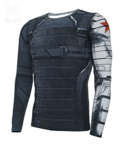 Winter Soldier Bucky Barnes manches longues 3D T-shirts CAPTAIN AMERICA 3 costumes