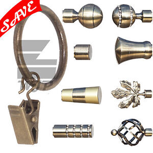 Metal Curtain Pole Finials For 16mm Pole Antique Brass