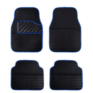Car-Floor-Mat-Universal-Blue-Side-Front-Rear-Faux-Leather-4-PC-for-SUV-VAN-SEDAN