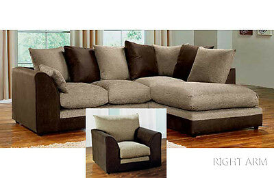 Porto Corner Group Sofa Brown and Beige Right or Left with Matching Armchair