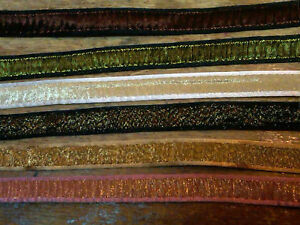 VINTAGE-FRENCH-3-8-034-RUCHED-PLEATED-METALLIC-RAYON-TRIM-RIBBON-1yd