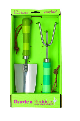 Boston Warehouse Striped Wood and Stainless 2 Piece Garden Tool Set