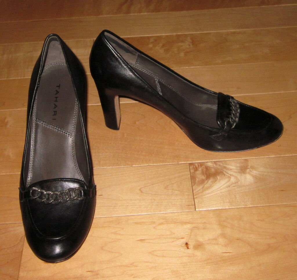 Tahari Wms Black Leather Heels Polly 8.5