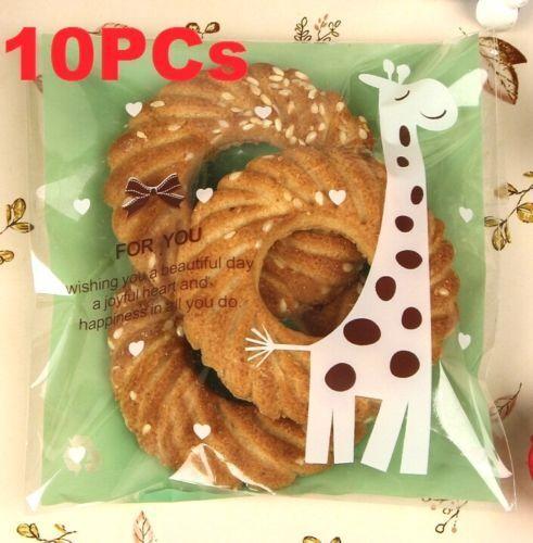 FD3844 Green Giraffe Candy Baking Cookie Soap Self Adhesive Decor Gift Bag 10PC^