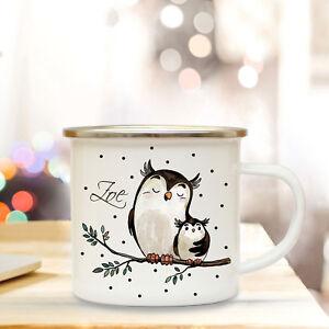 Baby Emaille Tasse Becher Mit Eulen Paar Campingbecher & Wunschname Kaffeebecher Eb21 RegelmäßIges TeegeträNk Verbessert Ihre Gesundheit