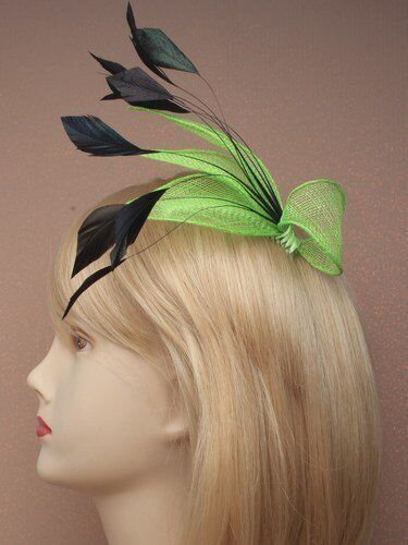 races Bright Green sinamay fascinator comb ladies day Ascot