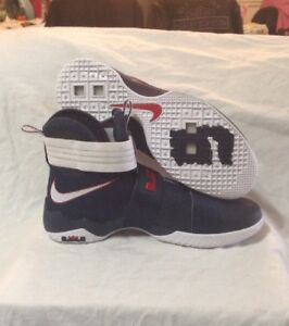 reputable site 992d3 e3809 Image is loading Nike-LeBron-Soldier-10-SFG-USA-Olympics-Obsidian-
