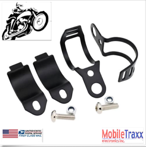 2x-Motorcycle-Turn-Signals-Fork-Clamps-Mount-Light-Holder-Brackets-Black