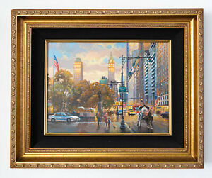 Central Park South Original Signed Framed Oil on Canvas Painting | Free Shipping