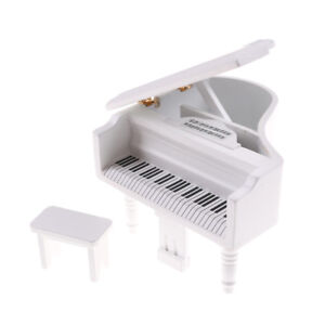 1-12-Dollhouse-Miniature-White-Wooden-Grand-Piano-With-Stool-Model-Play-Toys
