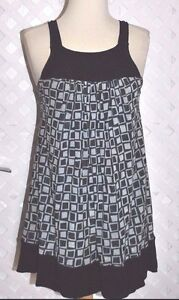 SWEET-PEA-By-Stacy-Frati-DOUBLE-MESH-BLACK-amp-GRAY-SLEEVELESS-TUNIC-TOP-S