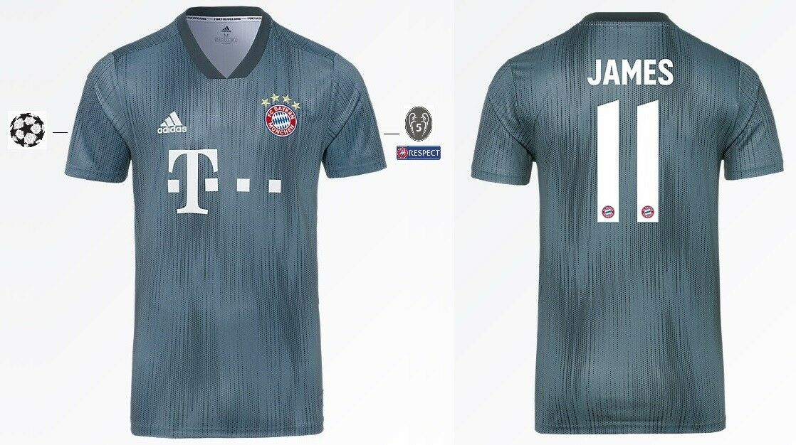 Trikot Adidas FC Bayern 2018-2019 Third - James 11  Champions League