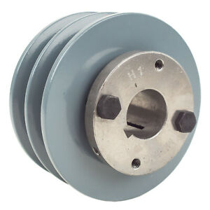 Cast-Iron-4-034-2-Groove-Dual-Belt-B-Section-5L-Pulley-w-1-034-Sheave-Bushing