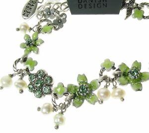 PILGRIM-Vintage-Bracelet-Sweetheart-SWALLOW-Flower-Bird-Silver-Green-Pearl-BNWT