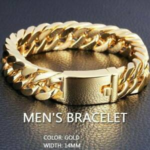 Men-039-s-Stainless-Steel-Polished-Gold-Heavy-Huge-Curb-Link-Chain-Bracelet-Bangle