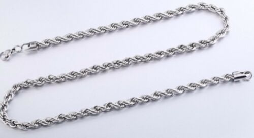 """18-24/"""" 2mm Stainless Steel Twisted Rope Chain Pendant Silver  Necklace STT2S UK"""