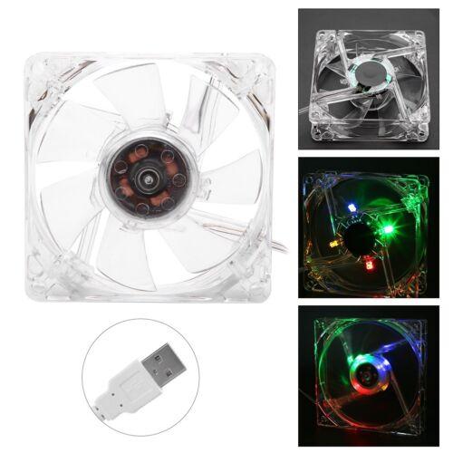 80mm CPU PC Computer Clear Case Quad 4-LED Light USB Cooling Fan Cooler 8cm 5V