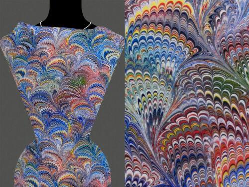 50cm STOFF VISKOSE Abstrakt Muster himmelblau mehrfarbig 22,80 €//m