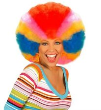 Mens damas enorme Arco Iris Peluca Rizados Afro Mardi Gras Gay Pride Payaso Fancy Dress